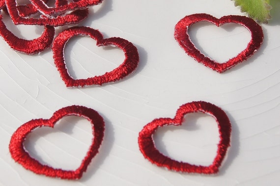 Iron on red heart applique vintage embroidered applique etsy