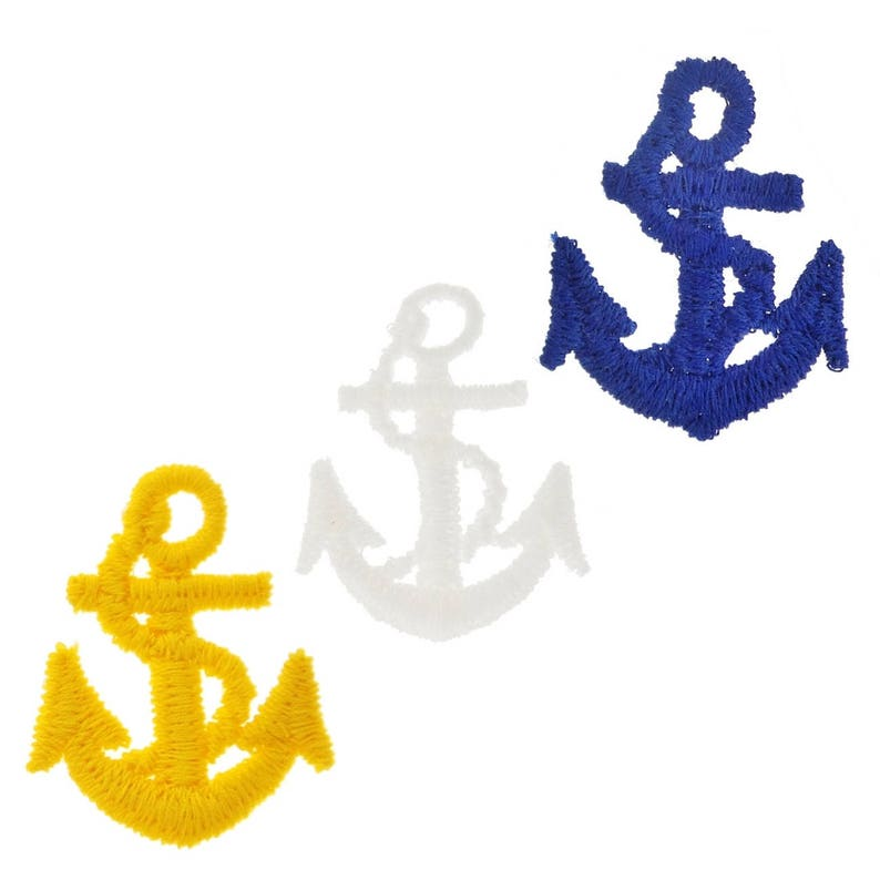 Nautical Anchor Patches for Jackets, Shirts, Hats, Bags Embroidery Applique  Anchor available in White, Yellow and Navy Sew On Ship Anchors