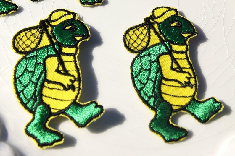 Vintage turtle applique yellow green turtle embroidery etsy