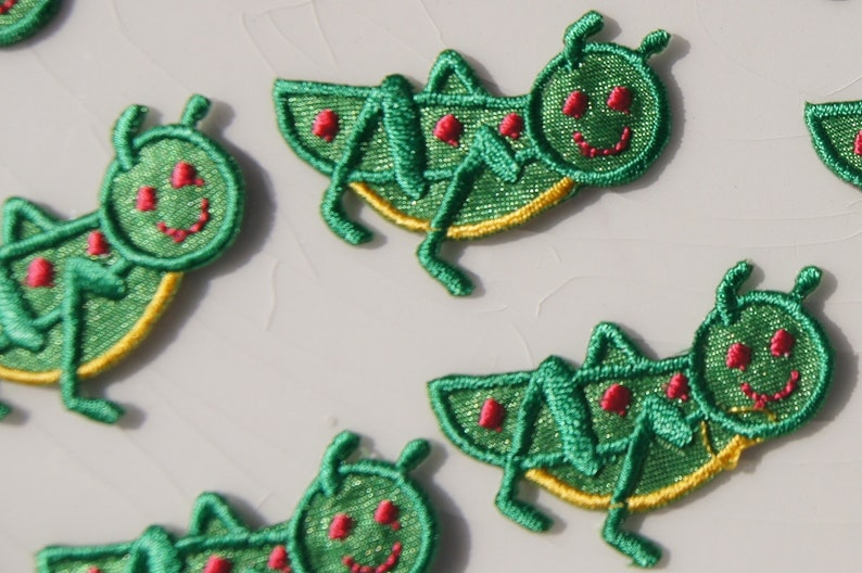 Green cricket applique vintage embroidered applique cricket etsy