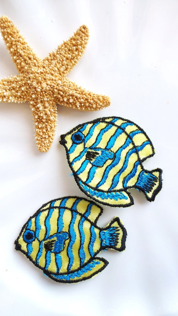 Marine Blue Tropical Fish Embroidery Patch