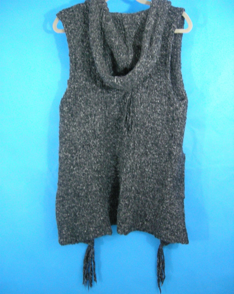 Hooded Sweater Vest Womens Small Pockets Grey BOHO Medieval Peasant Country style