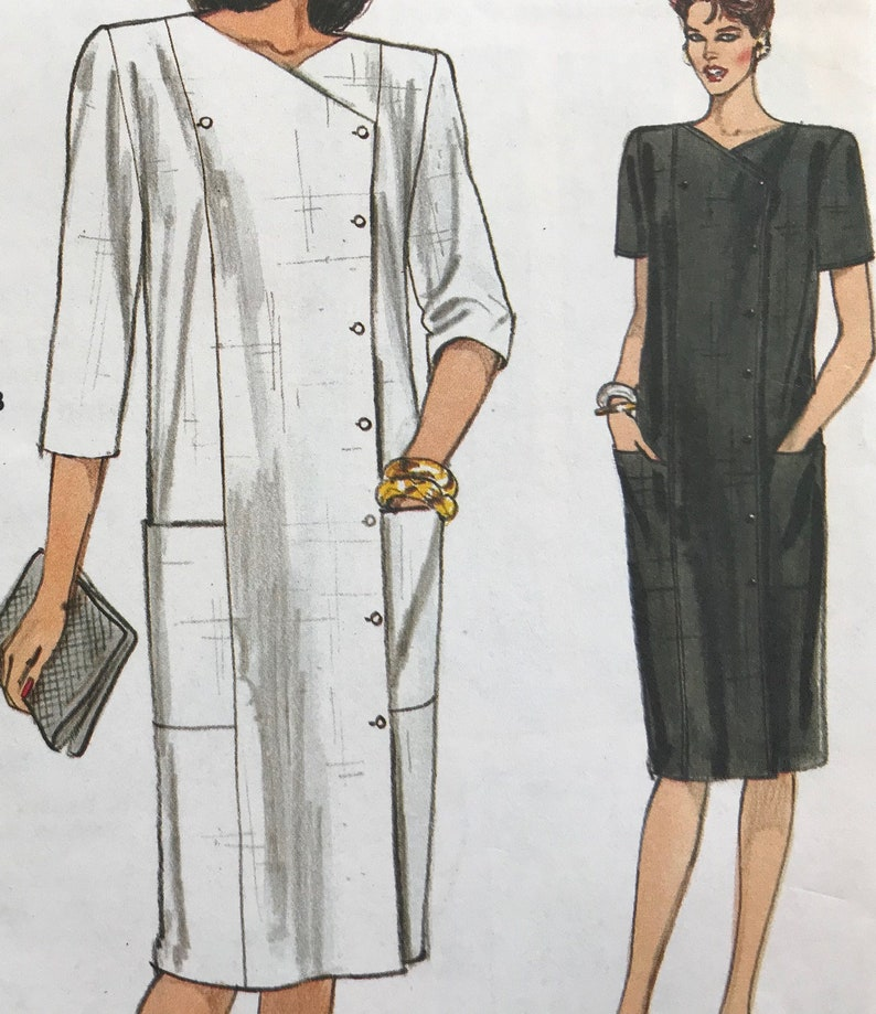 Vogue Sew Pattern 8637~Chic Summer DRESS~loose-fit+double breasted~12~UCFF
