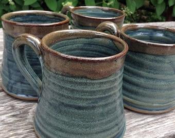 Set of rustic pottery mugs, slate blue mugs, great house warming gift, handmade mugs