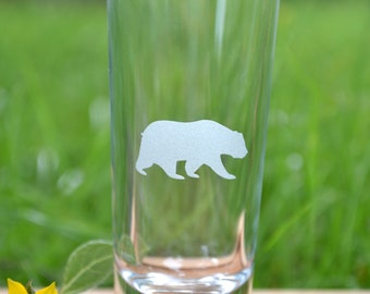 Grizzly Bear shot glass or shooter glass- animal shot glass home decor bear, hand etched etched glassware etched glass