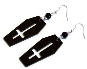 Black Acrylic Coffin + Inverted Cross Gothic Earrings with Beads of your choice