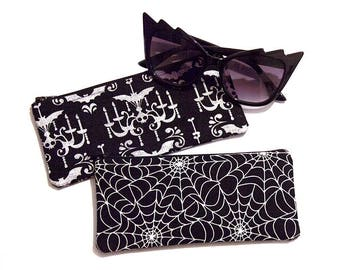 Bats Spider Web Gothic Zipper Pouch / Sunglasses Case