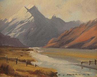 Vintage Signed New Zealand Landscape Framed Oil Painting, KJ Andrews Artwork Mt Cook Tasman Valley, 1950s Ken Andrews Landscape Oil Painting