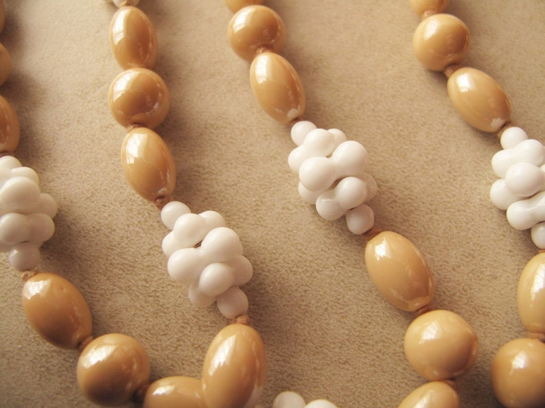 Beige White Vintage Glass Bead Necklace Rare and Unusual Long Glass Rope 47in  120cm Hand Knotted Necklaces