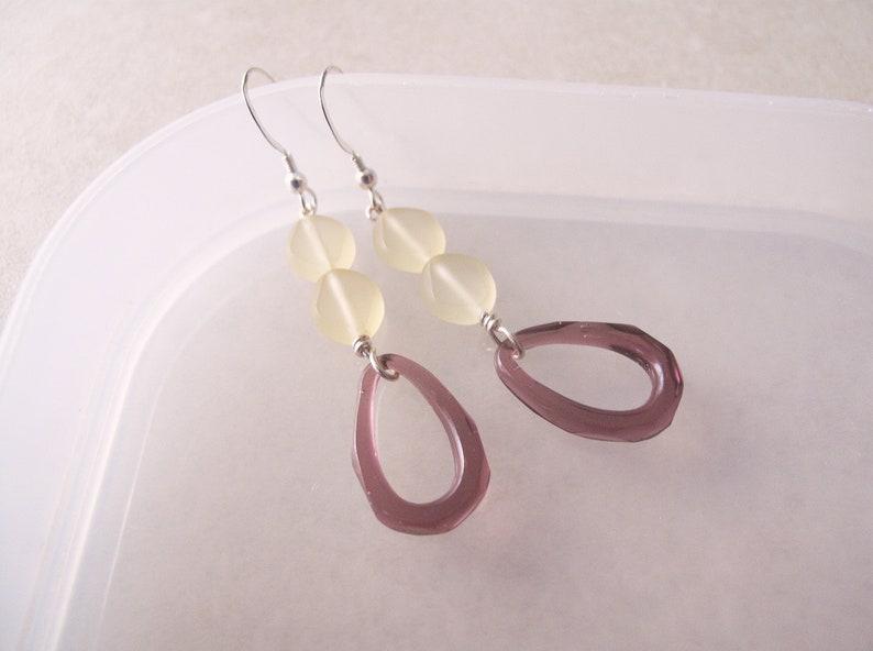 Fancy drop earrings Unique artisan made earrings Sterling silver drop earrings with purple pressed glass hoops Unusual earrings