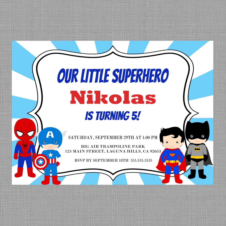 Superhero Birthday InvitationSuperhero invitation Spiderman | Etsy