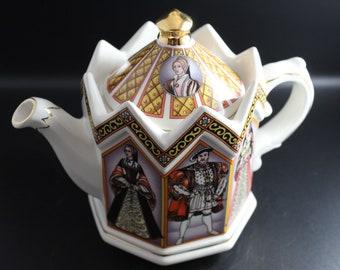 Vintage James Sadler Teapot Depicting Henry VIII and His 6 Wives