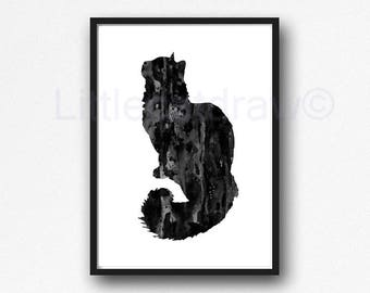 Fluffy Black Cat Print Watercolor Painting Print Cat Wall Art Cat Lover  Gift Bedroom Wall Decor Cat Art Print Unframed
