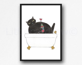 Cat Print Black Cat Drinking Wine Watercolor Painting Print Wall Art Bathroom Decor Bathtub Bath Tub Wall Decor Art Print Cat Lover Gift