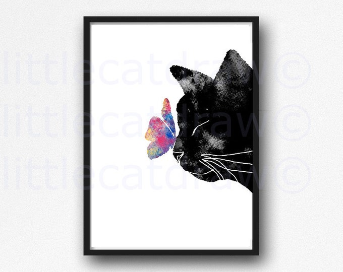 Cat Print Black Cat With Colorful Butterfly Watercolor Painting Print Cat Print Art Print Bedroom Wall Decor Wall Art Cat Lover Gift
