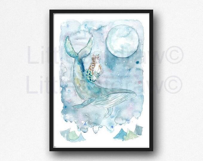 Cat Print Watercolor Painting Tabby Cat Humpback Whale Purrmaid Moon Watercolour Print Mermaid Beach Decor Cat Lover Gift Bedroom Wall Art