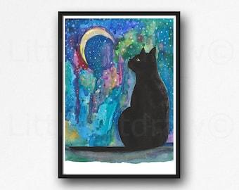 Moon Cat Print Black Cat Rainbow Galaxy Moon Watercolor Painting Print Cat Art Print Wall Art Wall Decor Cat Lover Gift
