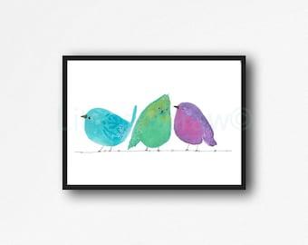 Bird Print Three Birds On A Wire Watercolor Painting Print Bird Wall Art Living Room Decor Wall Decor Home Decor Bird Decor