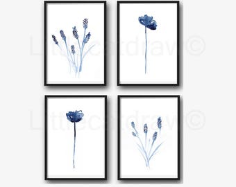 Lavender And Poppy Print Set Of 4 Watercolor Painting Print Botanical Print Watercolor Blue Lavender Wall Art Living Room Wall Decor Print
