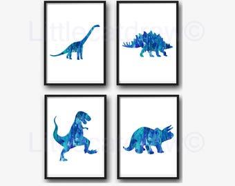 Dinosaur Print Set Of 4 Blue Green Jurassic Art Prints Watercolor Wall Art Dinosaurs Home Decor Dinosaur Geek Art Print Unframed