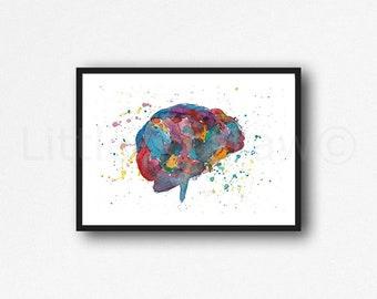 Brain Print Watercolor Painting Rainbow Brain Art Print Brain Decor Medical Wall Art Abstract Gift Wall Decor Unframed