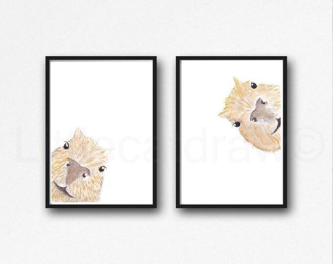 Capybara Print Set of 2 Prints Peekaboo Watercolor Painting Print Peekaboo Animals Wall Art Wall Decor Capybara Gift Art Prints Unframed