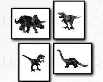 Dinosaur Print Set Of 4 Black and White Galaxy Jurassic Art Prints Watercolor Painting Print Wall Art Dinosaurs Home Decor Dinosaur Geek Art