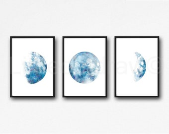 Moon Phase Print Set Of 3 Watercolor Painting Print Wall Art Home Decor Lunar Luna Moon Print Moon Wall Decor Celestial Art Prints Blue Moon