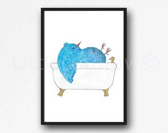 Bird Print Bath Time Blue Bird Watercolor Painting Print Wall Art Bathroom Decor Bathtub Bath Tub Wall Decor Art Print Bird Lover Gift