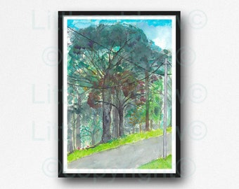Country Road Print My Way Home Watercolor Painting Print Forest Wall Art Forest Art Gift Art Print Wall Decor Forest Wall Print