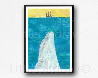 Whale Under The Sea Print Whale Painting Watercolor Painting Print Humpback Print Wall Art Nautical Decor Beach Blue Yellow Bathroom Decor