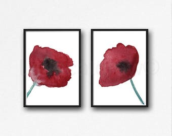 Poppy art etsy red poppies print set of 2 watercolor painting print flower art home decor wall art poppy bedroom wall decor home decor unframed mightylinksfo