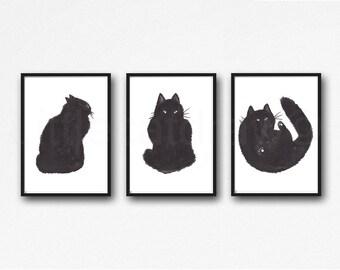Black Cat Print Set Of 3 Watercolor Painting Print Cat Art Cat Lover Gift Black White Minimalist Living Room Decor Wall Art Prints