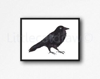 Raven Print Watercolor Painting Print Bird Print Black Bird Raven Wall Decor Bird Wall Art Home Decor Bird Wall Decor Art Print