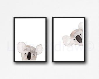 Koala Print Set of 2 Prints Peekaboo Watercolor Painting Print Peekaboo Animals Wall Art Wall Decor Koala Gift Art Prints Unframed