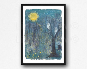 Firefly Print Watercolor Painting Print Starry Night In The Forest Fireflies Owls Owl Wall Art Print Lightning Bug Home Decor Wall Decor