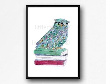 Owl Print Book Lover Owl Print Colorful Owl Bird Watercolor Painting Art Print Art Print Watercolour Wall Art Nursery Decor