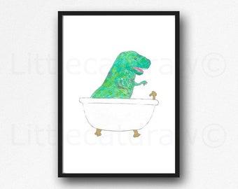 Dinosaur Print Bath Time Dinosaur Watercolor Painting Print Wall Art Bathroom Decor Bathtub Bath Tub Wall Decor Art Print Dinosaur Gift