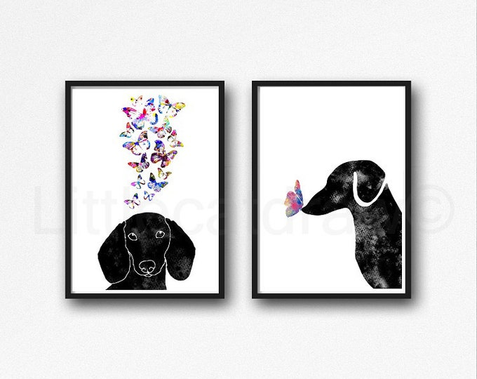 Dachshund Print Set Of 2 Watercolor Painting Print Wall Art Home Decor Art Prints Wall Decor Dog Lover Gift Dachshund Dogs With Butterflies