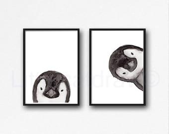 Penguin Print Set of 2 Prints Peekaboo Watercolor Painting Print Peekaboo Animals Wall Art Wall Decor Penguin Gift Art Prints Unframed