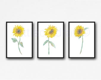 Sunflower Painting Print Set Of 3 Watercolor Print Floral Wall Decor Flower Sun Flower Home Decor 3 Art Prints Wall Art Unframed