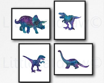 Dinosaur Print Set Of 4 Galaxy Jurassic Art Prints Watercolor Painting Print Wall Art Dinosaurs Home Decor Dinosaur Geek Art Print Unframed