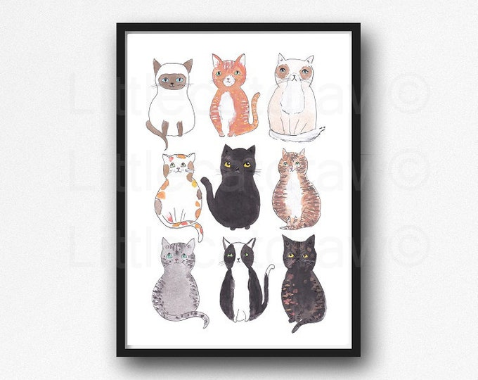 Cat Print 9 Happy Cats Watercolor Painting Print Cat Lover Gift Cat Tabby Cat Black Cat Tuxedo Cat Siamese Cat Decor Wall Art Cat Lady Gift