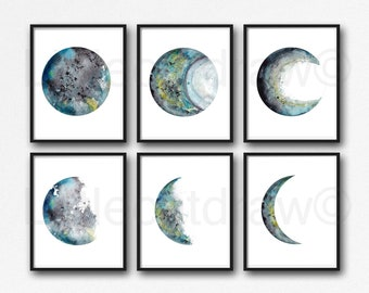 Moon Phase Print Set of 6 Black Gray Teal Watercolor Painting Prints Celestial Bedroom Decor Wall Art Lunar Phases Home Decor Moon Print