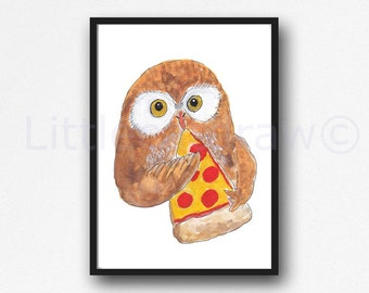 Owl Print Owl Eating Pizza Watercolor Painting Print Owl Lover Gift Owl Decor Bedroom Wall Decor Owl Painting Food Wall Art