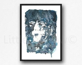Trigeminal Neuralgia Print Watercolor Painting Chronic Pain Art Print Woman Decor Medical Wall Art Abstract Woman Gift Wall Decor Unframed