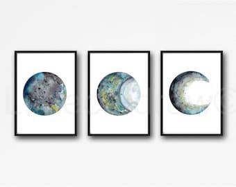 Moon Phase Print Set of 3 Black Gray Teal Moons Watercolor Prints Celestial Bedroom Wall Decor Wall Art Lunar Phases Home Decor Moon Print