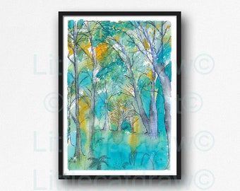 Aqua Orange Teal Forest Print Landscape Watercolor Painting Print Forest Wall Art Forest Art Gift Art Print Wall Decor Forest Wall Print