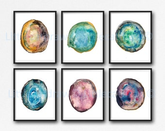 Geode Print Agate Slice Print Set Of 6 Bedroom Wall Decor Mineral Gem Crystal Home Decor Wall Art Watercolor Painting Print