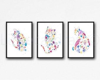 Cat Print Set of 3 Rainbow Cat Watecolor Painting Abstract Art Print Line Drawing Cat Lover Gift Wall Art Bedroom Decor Art Print